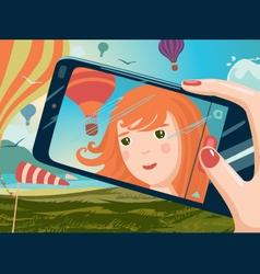 selfie on nature vector image