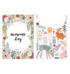 set greeting cards with cute animal and forest vector image