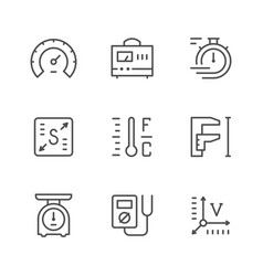 set line icons of measurement vector image