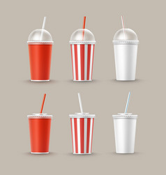 Set of paper cups for soft drinks vector