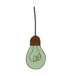Silhouette of turquoise light bulb pendant vector