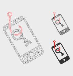 Smartphone key phishing mesh carcass model vector