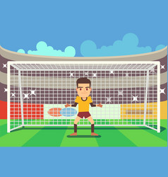Soccer goalkeeper keeping goal vector