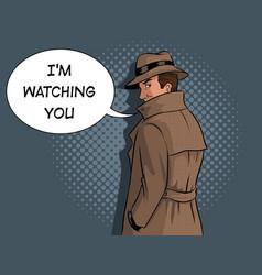 spy in raincoat and hat pop art vector image