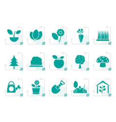 stylized different plants and gardening icons vector image