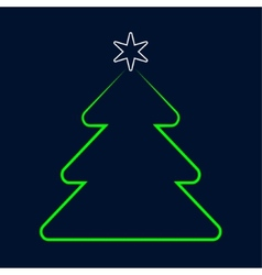 stylized green Christmas tree greeting with star vector image