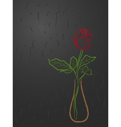 Stylized red rose in a vase over grey vector
