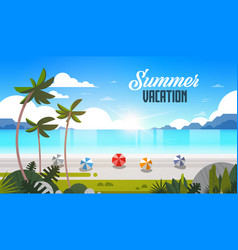 sunrise tropical palm beach balls view summer vector image