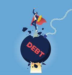 Super businessman punch cracked big debt vector