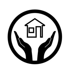symbolic conceptual image of the house and hands vector image