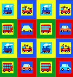 Train Bus Car and Fire truck children seamless vector