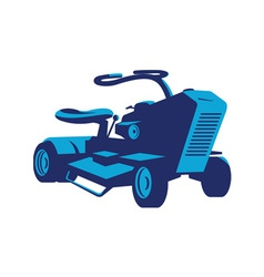 Vintage ride on lawn mower retro vector