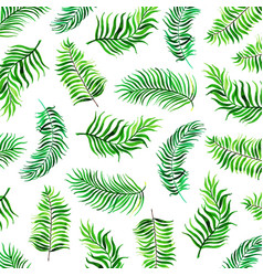 Watercolor tropical leaves background vector