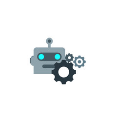 Wheel robot logo icon design vector
