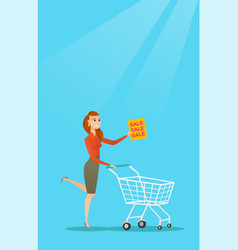 Woman running in a hurry to the store on sale vector
