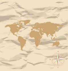 world map on old vintage retro background with vector image