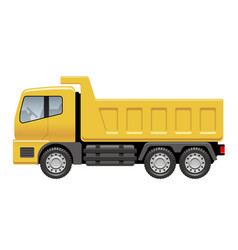 yellow dump truck isolated on a white background vector image