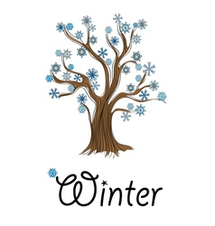 Abstract winter tree with snowflakes vector image vector image