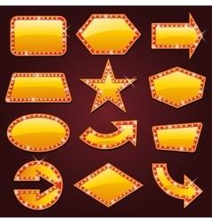 Brightly golden glowing retro cinema neon sign vector image vector image
