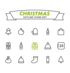 Christmas outline icons set vector image