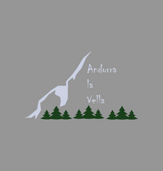 flat icons on theme of andorra logo mountains and vector image vector image