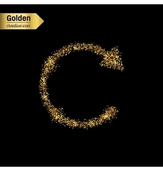 Gold glitter icon of back arrow isolated on vector image vector image