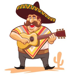 mexican with sombrero and guitar vector image vector image