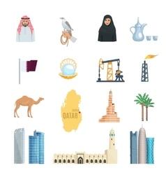 Qatar Flat Icons Set vector image