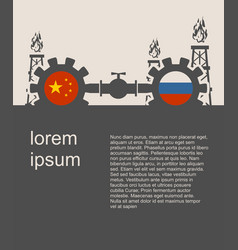 russia and china flags on gears vector image