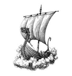 sail boat drawing vector image vector image