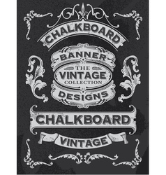 floral decorative banner and ribbon chalkboard set vector image vector image