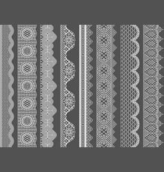 Seamless lace ribbon borders vector