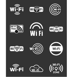 Set of twelve wifi icons vector image