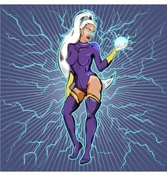 Superhero Woman With Fireball vector image