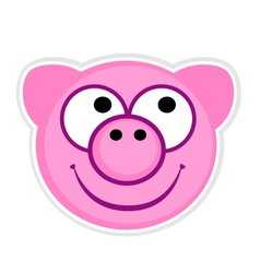 Cartoon cute pink Pig badge vector image vector image
