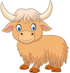 Cartoon funny yak isolated on white background vector image