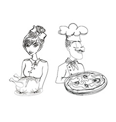 chef with pizza and Waitress serving a chicken vector image vector image