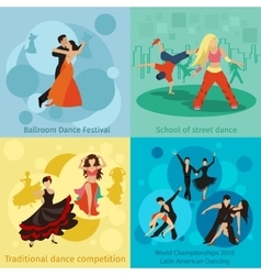 Dancing styles concepts set vector image vector image