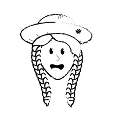 figure pretty woman face with hat vector image vector image