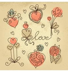 Set of sketch hearts vector image