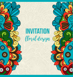 universal invitation floral doodle ornament card vector image vector image
