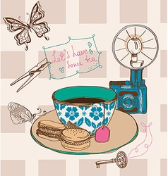 Vintage tea time background vector image vector image