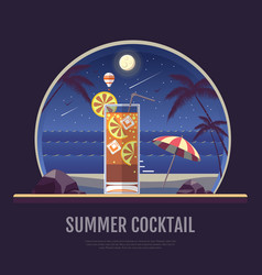 flat style design of summer cocktail vector image