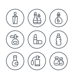 perfume and cosmetic line icons set vector image vector image