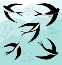 swallow bird set vector image