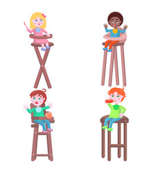 toddlers on children high chairs flat vector image vector image