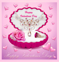A postcard on valentines day with a necklace ring vector