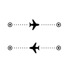 Airplane flight route glyph icon vector