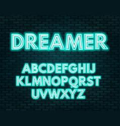 Aquamarine white neon alphabet on a dark vector