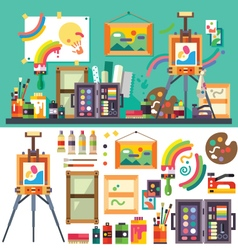 Art studio tools for creativity and design vector